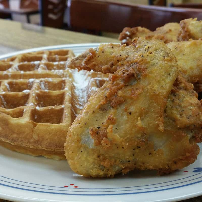 Waffle and fried chicken at Main Street Cafe